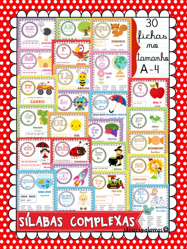 30 Fichas De Leitura Familia Silabicas Complexas Atividades De