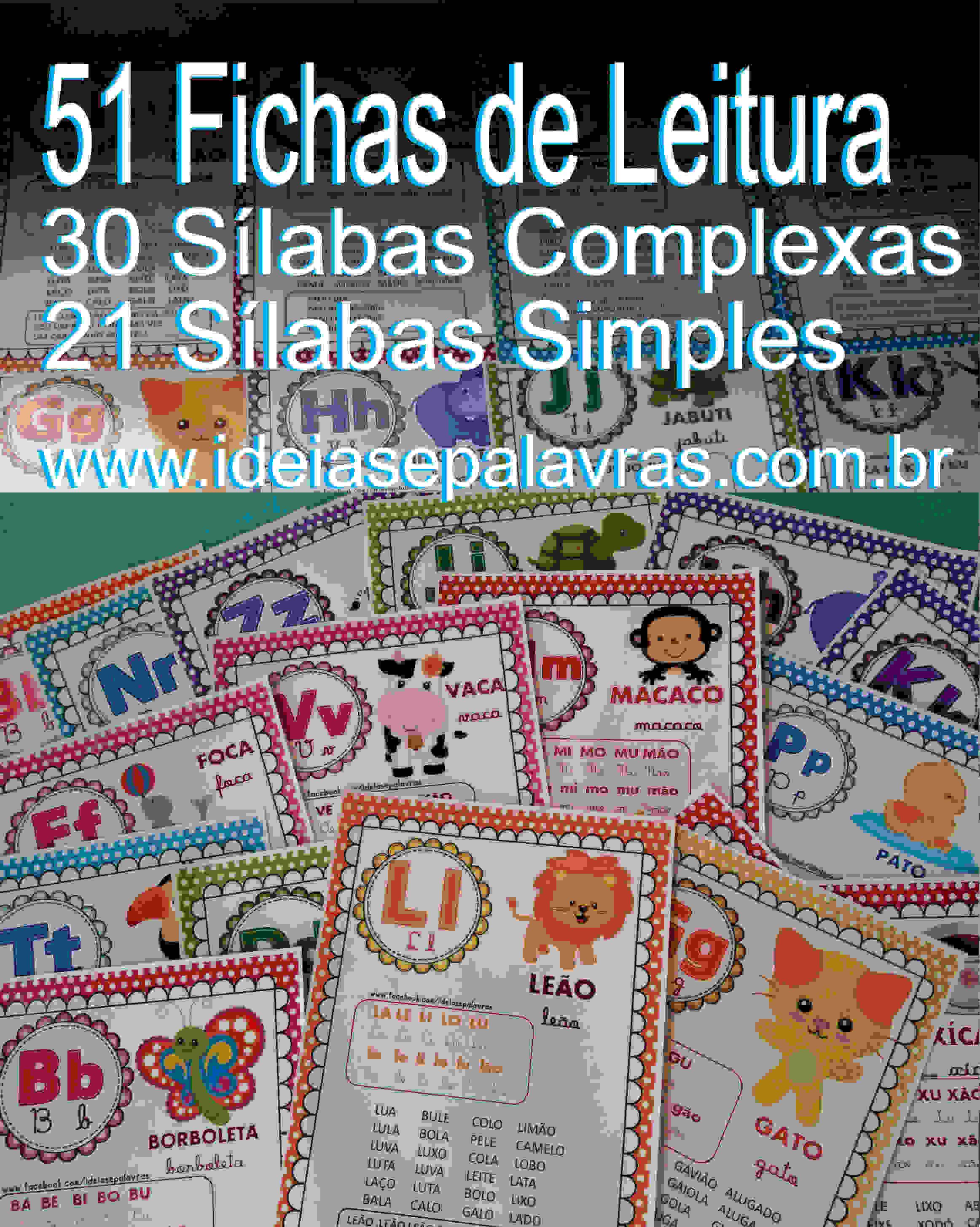 fichas de leitura simples e complexas - ideiasepalavras.com.br - atividade de alfabetização