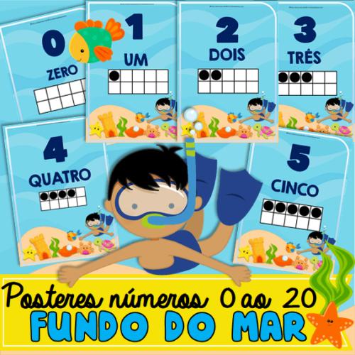 Posteres Números 0 ao 20 Fundo do Mar ✔TEMA Fundo do Mar