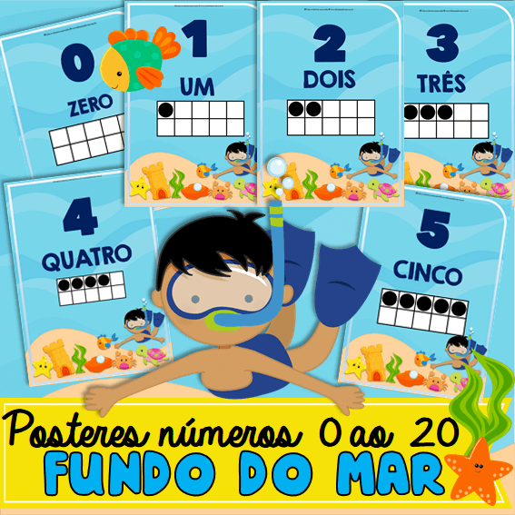 Posteres Números 0 ao 20 Fundo do Mar ✔ TEMA Fundo do Mar