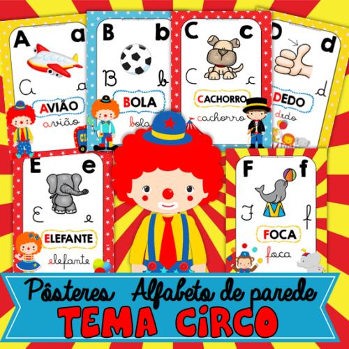 posteres alfabeto de parede tema circo